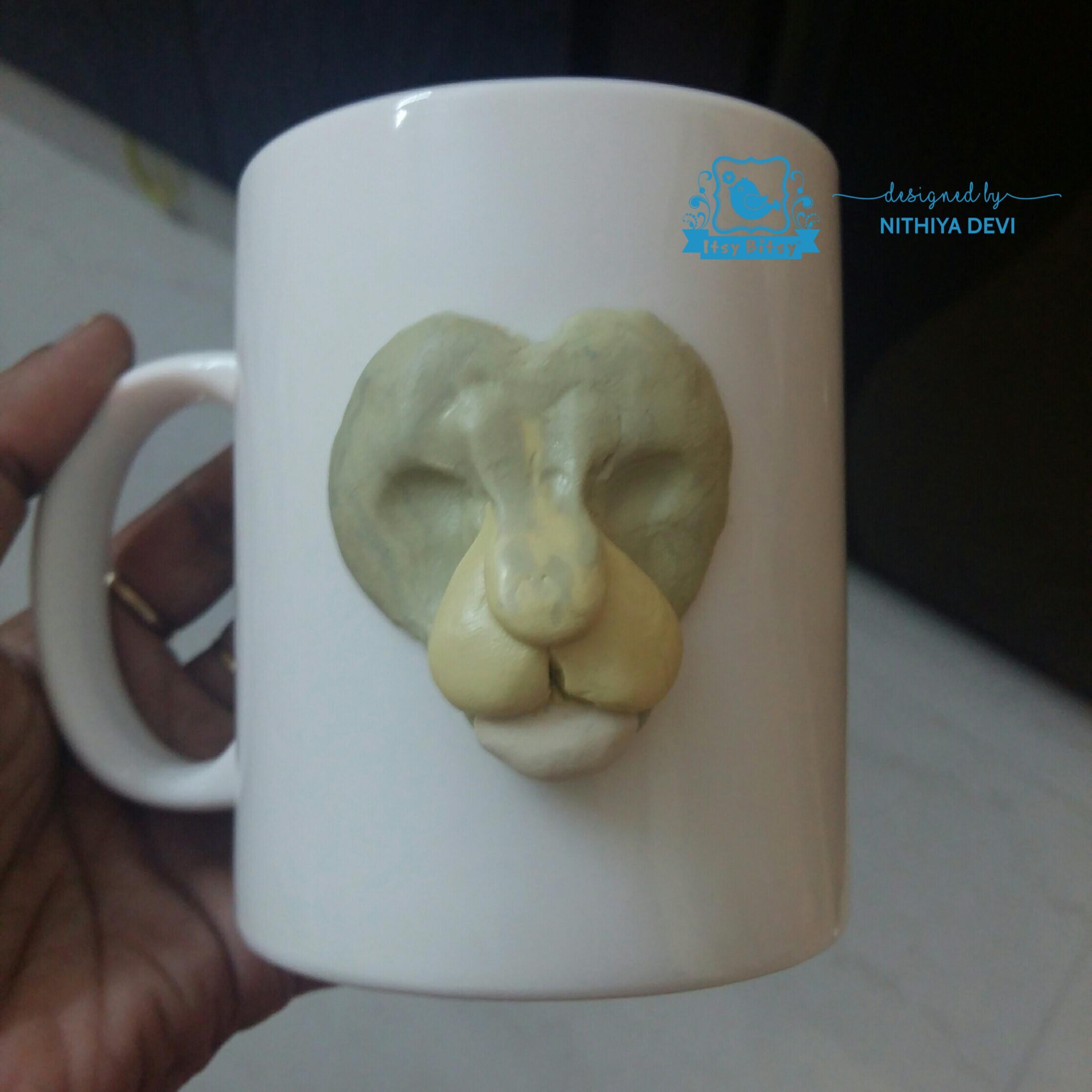 3d Lion Head Polymer Clay Mug